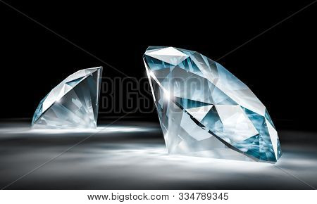3d image of a pair of diamonds with a black background. 3d render