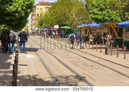 Sofia, Bulgaria- 30 April 2015: View Of The Graf Ignatiev Street In The Center Of Sofia. Walking Peo