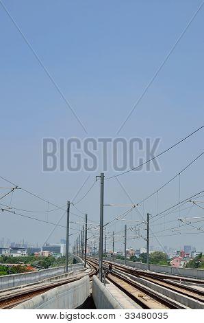 Sky Train Railway And Blue Sky