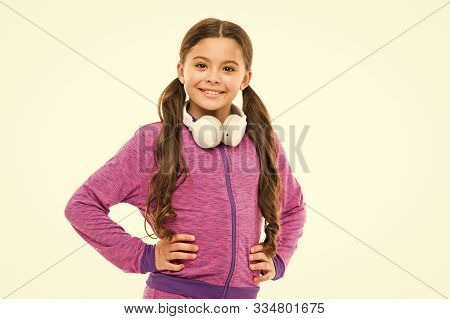 Wireless Freedom With Bluetooth Technology. Freedom Loving Little Kid. Small Girl Child Wearing Hand