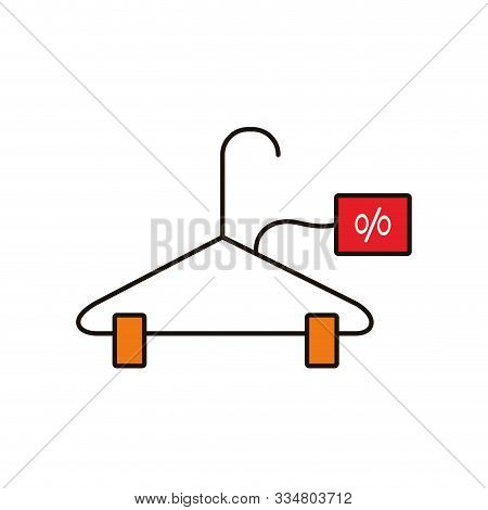 Clothespin With Commercial Tag And Percent Symbol Vector Illustration Design