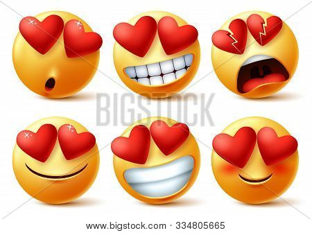 Emoticons Or Emojis Face With Heart Eye Vector Set. Emoji Of Red Hearts With In Love, Broken, Blissf