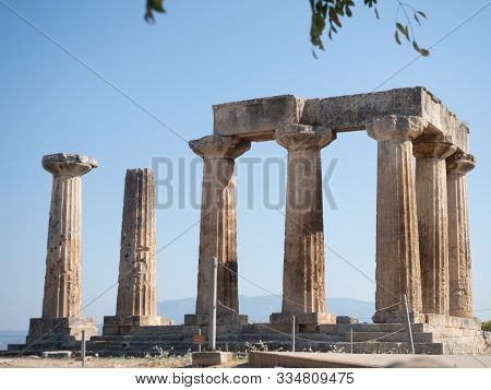 Close Up Of The Doric Columns Of The Temple Of Apollo At The Archaeological Site At Corinth, Greece