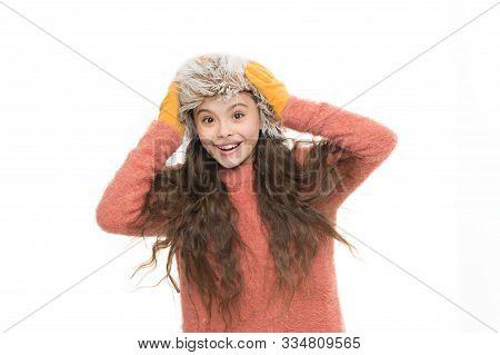 Faux Fur Trend. Girl Long Hair Wear Fur Hat White Background. Softener For Woolen Garments. Soft Fee