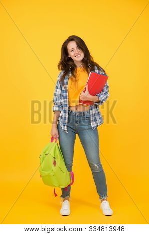 College University Education. School Girl With Backpack. Woman Adult Student. Final Exam And Graduat