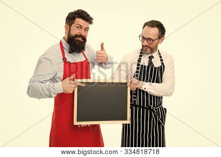 Men Bearded Bartender Or Cook In Apron Hold Blank Chalkboard. Workers Wanted. Bartender With Blackbo