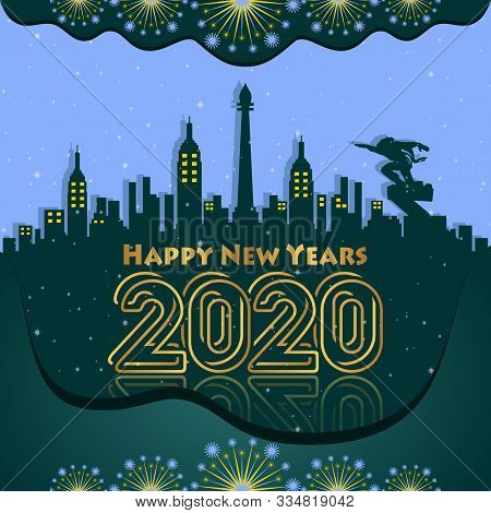 Happy New Year 2020 Green Gradation Background For Your Company