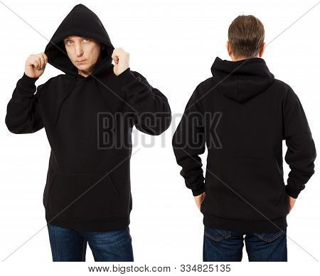 Man Hoody Set, Black Hoody Front And Back View, Hood Mock Up. Empty Male Hoody Copy Space. Front And