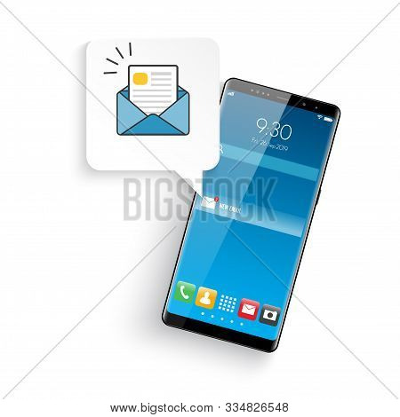 New Realistic Mobile Smartphone Modern Style. Email Notification Concept. New Email On The Smartphon