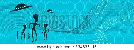 Ufo And Extraterrestrial Alien Silhouttes. Monsters Attack. Modern Futuristic Virtual Abstract Backg