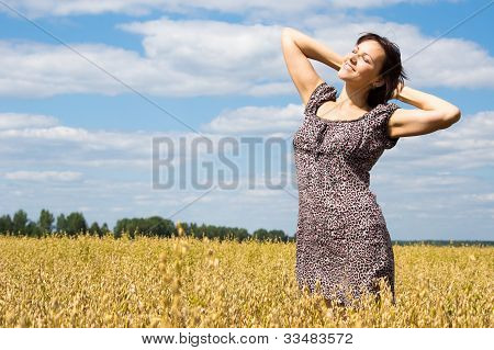 Cute Woman At Field