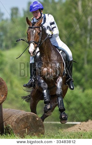 rider on horse is overcomes the obstacle