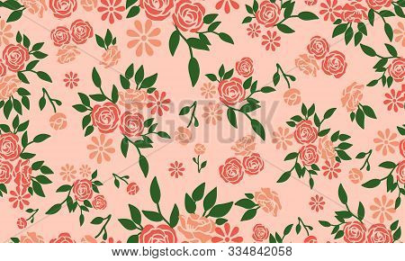 Wallpaper Seamless Floral Pattern On Peach Background.