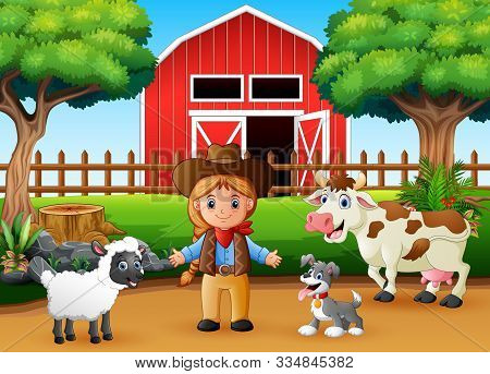 A Beautiful Cowgirl And Farm Animal In Front The Barn