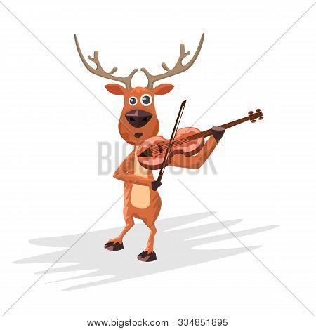 Christmas Reindeer Playing Violin. Hand Drawn Cartoon Style Deer And Musical Instrument For Your Des