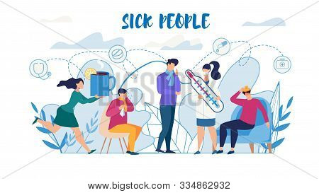 Sick People Suffering From Flu Need Help Flat Poster. Man And Woman Characters Feeling Unwell, Havin