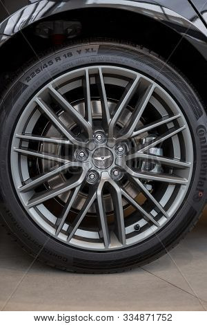 Russia, Izhevsk - October 16, 2019: Hyundai Showroom. The Wheel With Alloy Wheel Of A New Genesis G7
