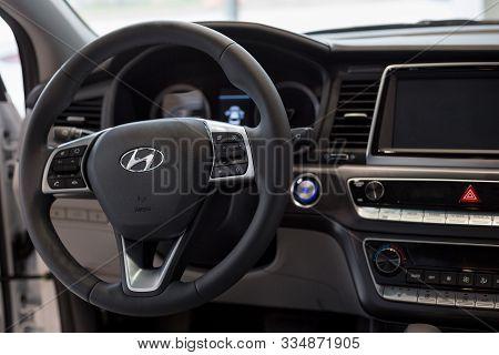 Russia, Izhevsk - October 16, 2019: Hyundai Showroom. Interior Of New Modern Sonata In Dealer Showro