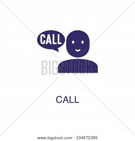 Call Element In Flat Simple Style On White Background. Call Icon, With Text Name Concept Template