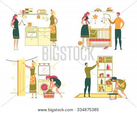 Women Household Routine Daily Activity And Home Duties Set. People, Man And Housewifes Cartoon Chara