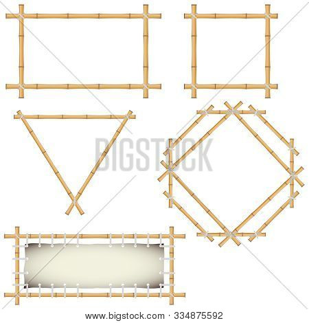 Bamboo Frames Made Of Green Bamboo. Pieces And Leaves Of Bamboo. Cartoon Vector Illustration Of Bamb