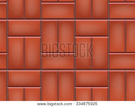 Seamless Pattern Of Tiled Cobblestone Pavers. Geometric Mosaic Street Tiles. Red Color. Single Baske