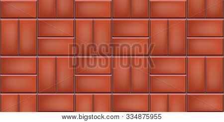 Seamless Pattern Of Tiled Cobblestone Pavers. Geometric Mosaic Street Tiles. Red Color. Double Baske