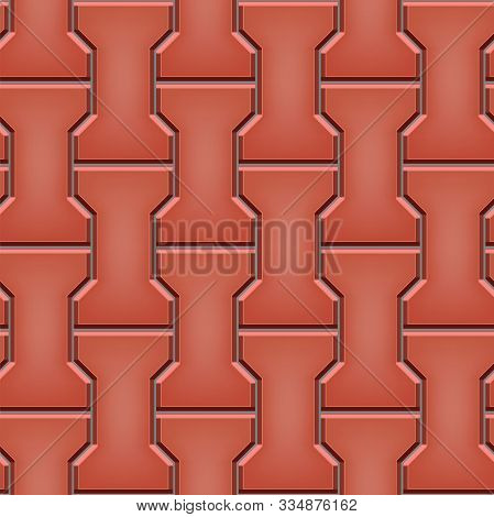 Seamless Pattern Of Tiled Cobblestone Pavers. Geometric Mosaic Street Tiles. Red Color. Dumble Paver