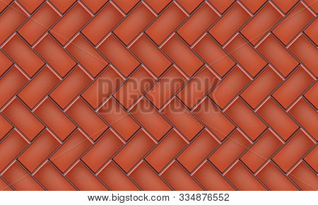 Seamless Pattern Of Tiled Cobblestone Pavers. Geometric Mosaic Street Tiles. Red Color. Degree Herri