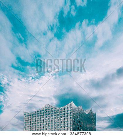 Hamburg, Germany - June 9, 2019: Top View Of Elbphilharmonie Against Blue Sky Located In Hafencity D