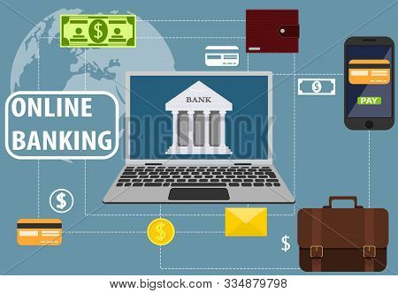 Online Banking, Communication With The Bank Through A Laptop. Mobile Banking. Wallet, Business Brief