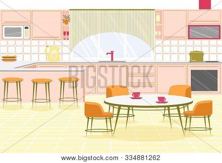 Bright Banner Interior Spacious Modern Kitchen. Large Room With Kitchen Furniture. Opposite Window T