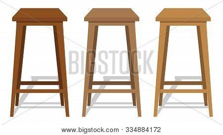 Bar Stool, Wooden Retro Bar Stool. Bar Stool In Isometry With Shadow. Vector Illustration. Vector.