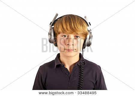 boy listening to music with his headphones poster