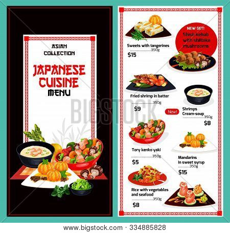 Japanese Cuisine Menu, Traditional Japan Restaurant Food Dishes. Vector Menu Cover With Tangerine An