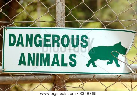 A white warning sign with green capital letters DANGEROUS ANIMALS and a rhinoceros on the electrical fence of the entrance of a game park in South Africa poster