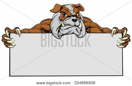 A Mean Looking Bulldog Dog Mascot Holding A Sign