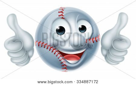 Cartoon Softball Or Basketball Ball Man Mascot Character Doing Thumbs Up