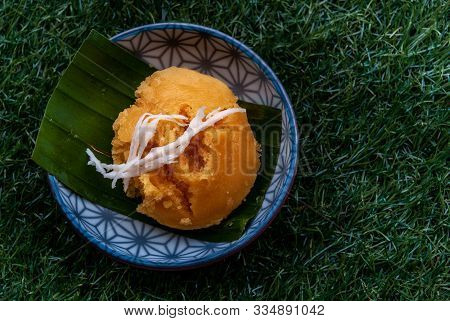 Toddy Palm Cake Or Kanom Tarn Is Local Thai Dessert, Sweet, Soft And Delicious. Made From Ripen Todd