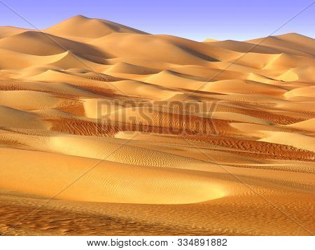 Middle East Desert - Colourful Patterns Of The Liwa Desert, Which Is Part Of The Rub Al Khali Desert