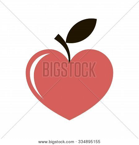 Red Heart Apple Like And Green Leafs Logo. Suitable For Wall Art, Handmade Craft Items, Stationery,