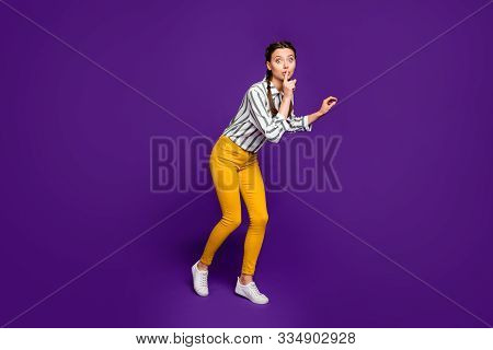 Full Body Photo Of Pretty Lady Holding Finger On Lips Going Tiptoes Unexpected Surprise Visit Wear S