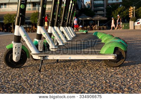 Thessaloniki, Greece - August 28, 2019: Many Electric Scooters Wiating To Be Rented - New Way Of Cit