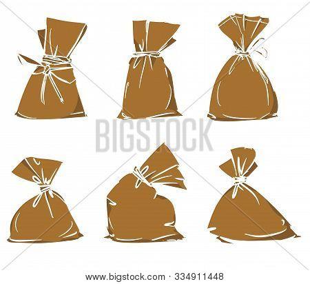 Canvas Sack Set Vector. Hand Drawn Bag. Vector Stock Illustration. Burlap Sack Different Sizes Isola
