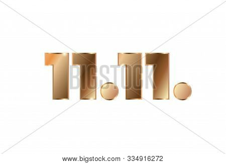 Vector Poster With Gold Numbers 11.11 For World Shopping Day
