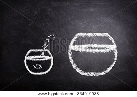 Business Challenge And Improvement Concept : White Fish Jumping Out Of Small Fishbowl To Bigger Fish