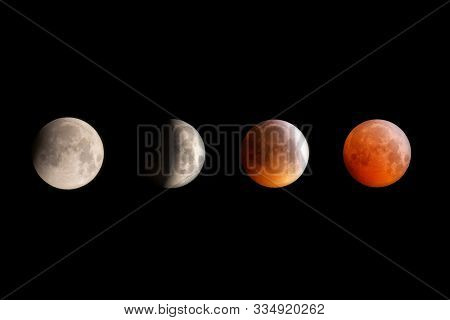 Lunar Eclipse January 2019 Composite Image Showing Different Phases Of The Eclipse, Cornwall, Uk