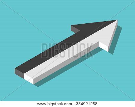 Isometric Arrow Of Two Opposite White And Black Parts Merging. Integration, Team Work, Merger, Partn