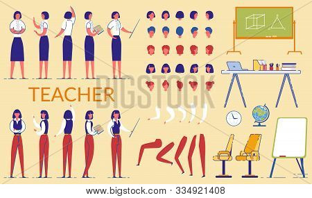 Teacher Woman With Pointer In Formal Clothes Flat Cartoon Vector Illustration. Character In Skirt An