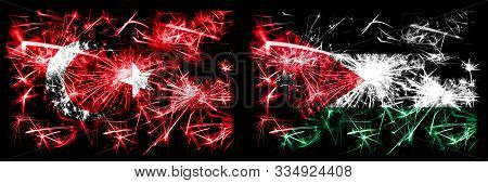 Turkey, Turkish Vs Jordan, Jordanian New Year Celebration Sparkling Fireworks Flags Concept Backgrou